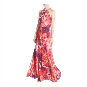 NWT Eliza J Pink Floral Print Halter Maxi Dress